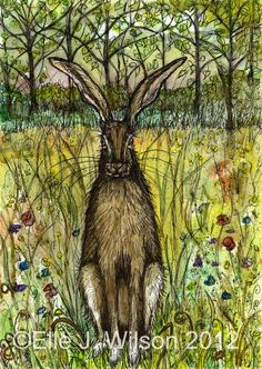 The Evasive Hare Hare Art Print by AlmostAnAngel66 on Etsy