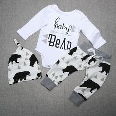 Newest Infant Girls Boy Baby Bear Print Romper Jumpsuit+Pants+Hat Outfits Set Newborn Spring Autumn Clothes Set For Storing Baby Clothes, New Baby Boys, Baby Girls, Autumn Clothes, Bear Print, Bear Toy, Baby Boy Outfits, Outfit Sets, Cute Babies