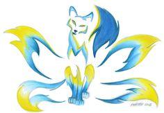Blueflame Kitsune by RHPotter on DeviantArt Fox Spirit, Wolf Spirit Animal, Fantasy Creatures, Mythical Creatures, Rabe Tattoo, Japanese Fox, Celtic Tribal, Anime Elf, Mystical Animals