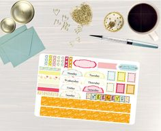 Pinning for later! These stickers are perfect. Available at Crafted By Corley on Etsy. Happy Birthday - Transform My Planner Sticker Set Weekly View Sticker for use with ERIN CONDREN Hourly LifePlanner by CraftedByCorley