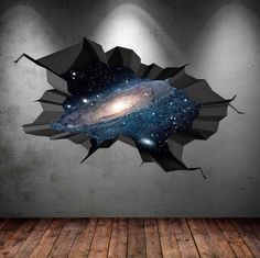 Bedroom wall paint - space wall decal cracked hole space galaxy stars full colour wall art sticker boy bedroom decal mural x Art Mural 3d, 3d Wall Art, Wall Murals, 3d Wall Painting, Girls Bedroom Mural, Bedroom Murals, Bedroom Wall, 3d Wall Decals, Wall Stickers 3d