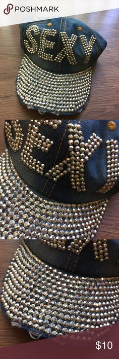 SEXY Denim Cap Only missing one bling. I am sure it's an easy fix. Smoke Free Home. 💎💎💎 Shipping too high so 25% Off Bundles and Free Gift with every order! Accessories Hats