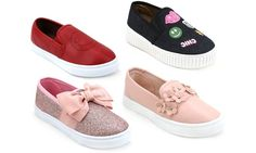 This slip-on sneakers feature creative designs and were design to add a glam to any little girl's outfit