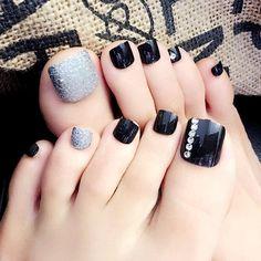 Hukai acrylic false toenails toes tips rhinestone art for summer holiday by hukai - shop online for beauty in the united states Holiday Nail Designs, Toe Nail Designs, Holiday Nails, Pedicure Nail Art, Toe Nail Art, Nail Manicure, Cute Toe Nails, My Nails, Painted Toe Nails