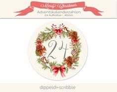 Adventskalenderzahlen - Adventskalenderzahlen - ein Designerstück von dippeldi-und-scribble bei DaWanda