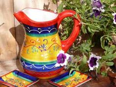 Jaen Orange ~ Fabulous hand painted sangria jugs!