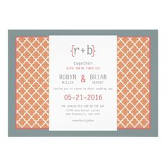 Orange and Teal Moroccan Tile Modern Wedding Custom Announcement