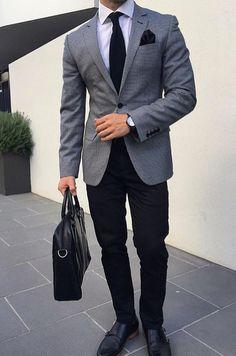 Blazer Outfits Men, Outfits Casual, Blazer Fashion, Mode Outfits, Blue Blazer Outfit, Fashion Hair, Fashion Clothes, Mens Fashion Blog, Fashion Mode