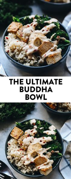 There are millions of recipes for Buddha Bowls out there but I can assure you this one is the ultimate! With veggies, brown rice, tofu in a flavour-packed peanut sauce, the ultimate buddha bowl will become your go-to vegetarian dinner recipe! #buddhabowl