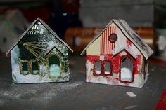 Christmas card Putz house by christmasnotebook. Use old Christmas cards to make houses.