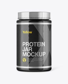 Glossy Protein Jar Mockup in Jar Mockups on Yellow Images Object Mockups Bottles And Jars, Sports Nutrition, Creative Words, Mockup, Your Design, Protein, Objects, Yellow, Sports Food
