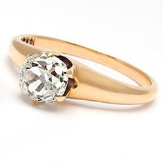 "Antique Old Mine Cut Diamond Solitaire Engagement Ring Solid 14K Gold $1,429.00. Woah, really interesting cut. ""Mine Cut"" almost looks circular."