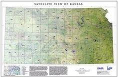 "#ESRI #GIS ""Satellite View of Kansas"" is a mosaic of 16 Landsat Thematic Mapper (TM) images acquired during late summers of 1988 through 1993."