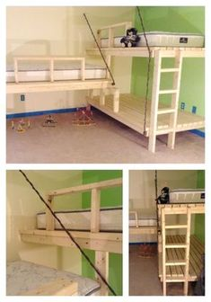 Love these fun triple bunks!  Triple Bunk inspired by the hanging day bed | Do It Yourself Home Projects from Ana White