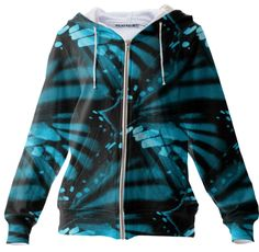 Blue Butterfly Wings, Zip Up Hoodie  100% Cotton