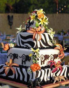 Safari Wedding cake welcome to the jungle of LOVE! Themed Wedding Cakes, Themed Cakes, Dessert Wedding, Themed Weddings, Wedding Cupcakes, Beautiful Cakes, Amazing Cakes, Lion King Wedding, African Wedding Cakes