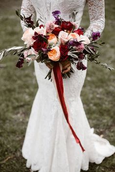 33 Beautiful Wedding Bouquets That Are Unique ❤ beautiful wedding bouquets with burgundy pink and purple flowers decorated with ribbon erin morrison photography via instagram ❤ See more: http://www.weddingforward.com/beautiful-wedding-bouquets/ #wedding #bride #bouquets #weddingbouquets #beautifulweddingbouquets