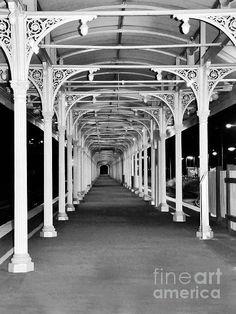 Albury Station (B) - Long Undercover Platform...    Prints available at:    http://kaye-menner.artistwebsites.com/featured/albury-station--long-undercover-platform-kaye-menner.html  -