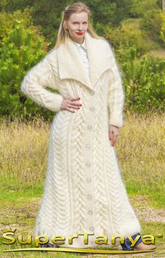Made to order hand knit mohair cardigan in ivory cream, fuzzy long handcrafted style coat by SuperTanya - knittings shawl Sweater Coats, Knit Cardigan, Cream Cardigan, Icelandic Sweaters, Knitted Shawls, Knitted Coat, Muslim Fashion, Shawls And Wraps, Mantel
