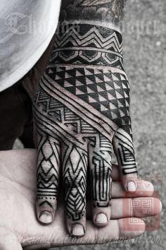 Blackwork hand tattoo by Thomas Hooper Tribal Hand Tattoos, Hand Tats, Foot Tattoos, Trendy Tattoos, Black Tattoos, New Tattoos, Tattoos For Guys, Saved Tattoo, Tattoo You