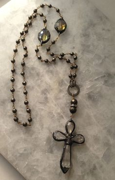 Rosary Necklace Cross Soldered Pyrite Crystal by METALLOGRAPHY Free Priority Mail Upgrade