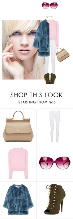 """""""Pink and white and blue."""" by kohlanndesigns ❤ liked on Polyvore featuring Dolce&Gabbana, Frame Denim, Miu Miu, Oliver Peoples, Marni, Giuseppe Zanotti, Jennifer Zeuner, women's clothing, women's fashion and women"""