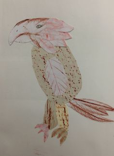Y7 understanding Frottage. Collages of fantastic creatures created from textured rubbings. St Mary's Catholic High School.