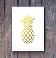 Gold pineapple print   tropical pineapple Gold by SouthPacific