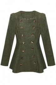 #Romwe X-shaped Outline Double-breasted Army Green Coat