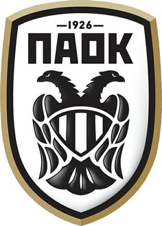 PAOK Thessaloniki of Greece crest. Football Team Logos, Soccer Logo, Sports Team Logos, Football Design, World Football, Thessaloniki, Fifa, College Soccer, Jersey Atletico Madrid