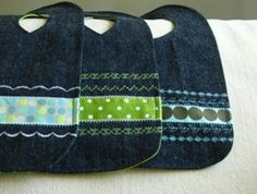 repurposed jeans- baby bibs