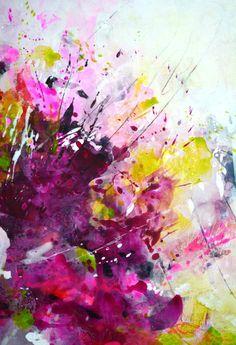 Original grand tableau coloré abstrait art moderne des