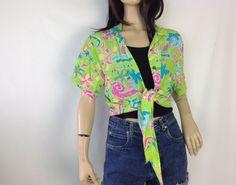 Vintage Hawaiian Shirt Waist Tie Waist Lime Green Neon Hot Pink Fuschia Tropical Print with Abstract Print Florals  Summer Shirt Beach Shirt