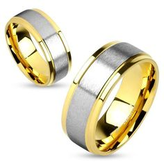 ew Product - Two Tone Titanium Brushed Metal Center Step Edge Gold Couple Rings - http://www.forevergifts.com/two-tone-titanium-brushed-metal-center-step-edge-gold-couple-rings/
