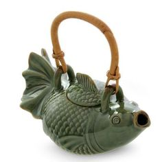 Novica 23 oz. Ceramic Koi Teapot