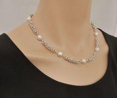 Collar de maille cadena de plata con perlas de por SilverSerenade