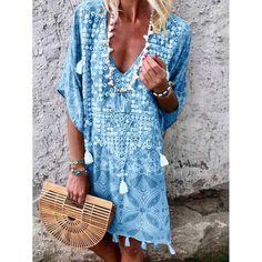 Damen Baumwolle Leinen Maxi Kleid Kurzarm Casual Boho Kaftan Tunika Plus Size Boho Summer Dresses, Summer Dresses For Women, Boho Dress, Casual Dresses, Dress Summer, Spring Summer, Beach Dresses, Summer Sale, Summer Beach