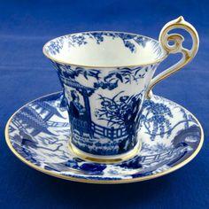ROYAL CROWN DERBY 'Blue Mikado' c1916 demitasse cup  saucer RARE