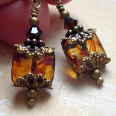 Cloud Cap Jewelry Brown Marbled Glass Tile Earrings 50039 *** For more information, visit image link. (This is an affiliate link) #JewelryForWomen