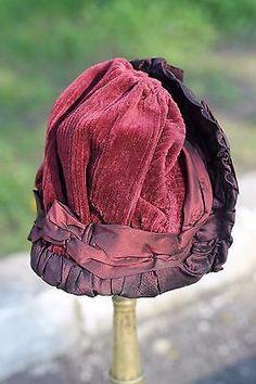 Marvelous-antique-Bebe-doll-silk-taffeta-hat-German-or-French-antique-doll