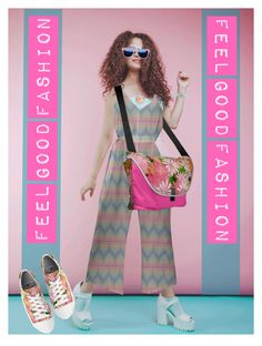 """My Fashion Collection is made to feel Good""""         *See 100 more looks'               Feel Good Fashion @ www.marijkeverkerkdesign.nl     Designer Boho Chic Tie-waist Jumpsuit, Designer Sling Bag, Designer Wrist watch, Floral printed converse Sneakers, Pink Sunglasses, Floral necklace"""
