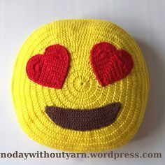 Ravelry: Heart Eyes Emoji Pillow pattern by Lydia Busek