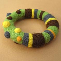 Green Needle Felted Bracelet