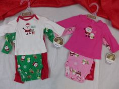 Infant Christmas 3 Pcs Outfit Carters Santas Favorite  Pinks Green Red  #Carters #Holiday