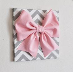 "Large Light Pink Bow on Gray and White Chevron 12 x12"" Canvas Wall Art- Baby Nursery Wall Decor- Zig Zag on Etsy, $34.00"