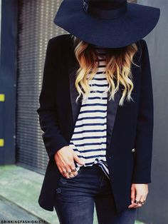 blazer and hat to run away from paps.