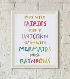 Unicorn nursery quote Mermaids Fairy Rainbow cross stitch pattern baby