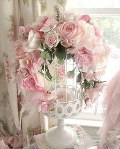 Birdcage with Soft Pink Roses, Lace, Ribbons and a Sweet Glitter Birdie
