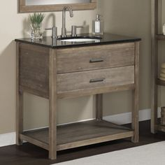 - Elements Granite Top Single Sink Bathroom Vanity - Rustic yet refined, this bathroom vanity will enhance the decor of your bathroom. The Elements bathroom vanity features sturdy solid wood legs and frame with a weathered brown/grey -Guest Bath option Reclaimed Wood Bathroom Vanity, 36 Inch Bathroom Vanity, Rustic Bathroom Vanities, Single Sink Bathroom Vanity, Wood Vanity, Vanity Sink, Bathroom Sets, Rustic Vanity, Bathroom Cabinets