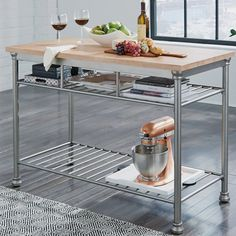 New Hamann Prep Table with Butcher Block Top by Williston Forge kitchen dining furniture sale. offers on top store Kitchen Prep Table, Kitchen Cart, New Kitchen, Kitchen Dining, Kitchen Ideas, Kitchen Stuff, Rustic Kitchen, Butcher Block Top, Butcher Blocks